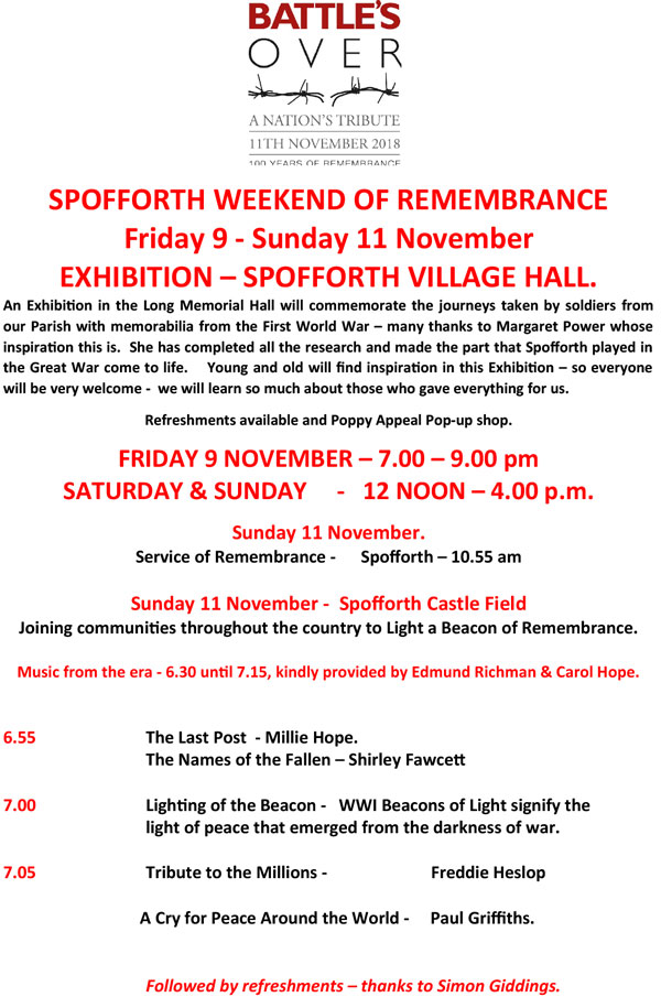 2018 Remembrance weekend poster